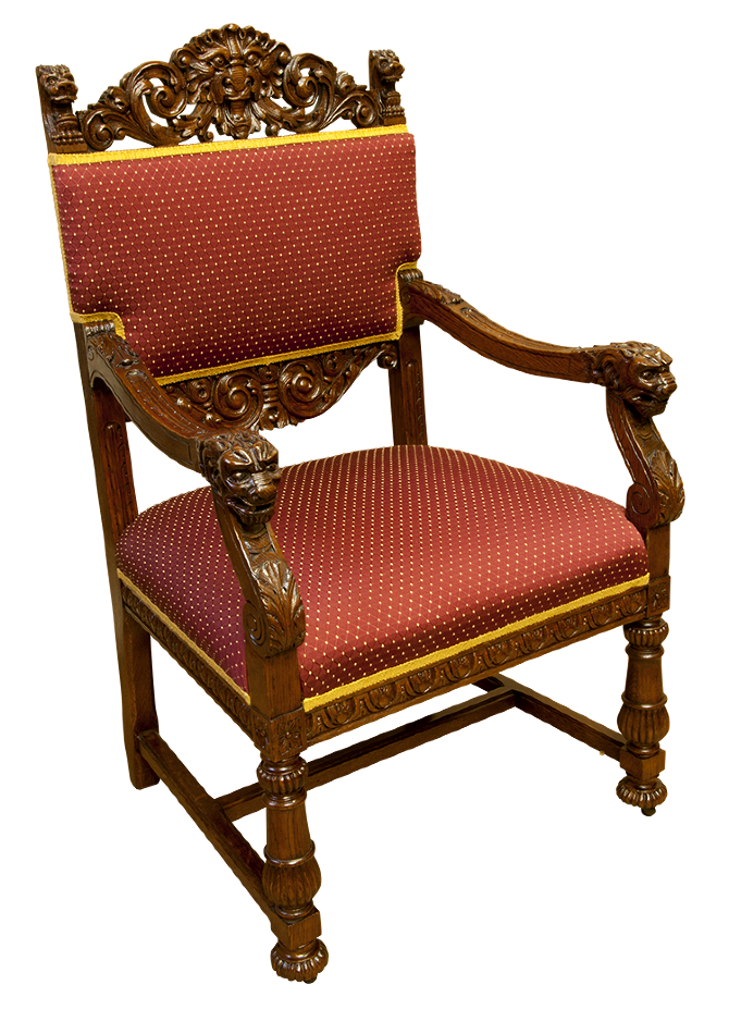 Carved Throne Chair - Alcedines Antique  Art Restoration Studio
